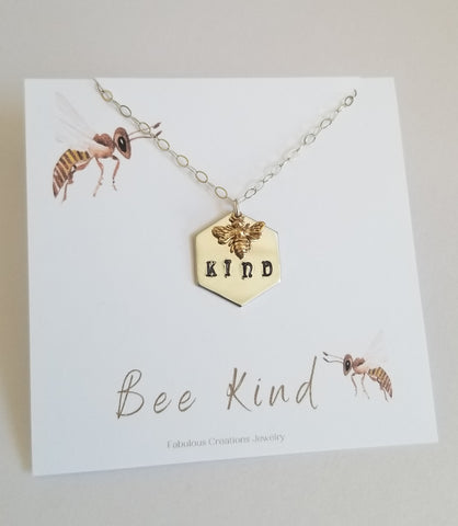 Bee Kind Necklace, Dainty Honeybee Charm Necklace, Stamped Jewelry