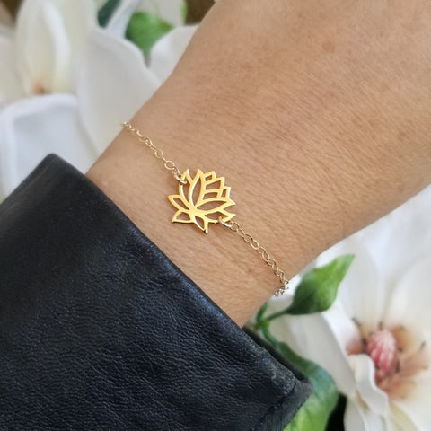 Dainty Gold Lotus Flower Bracelet
