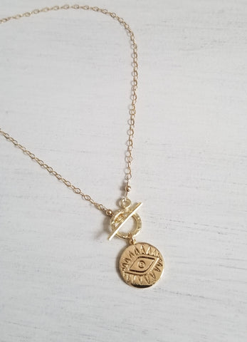 Gold Evil Eye Coin Necklace, Front Toggle Necklace