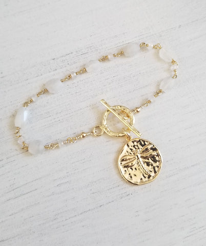 Moonstone charm bracelet, Gold Medallion Bracelet for women, Gift for Her