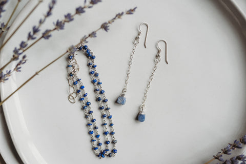 Dainty Raw Gemstone Earrings, Handmade Birthstone Jewelry