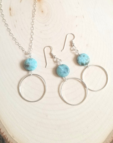 Sterling Silver Larimar Hoop Earrings