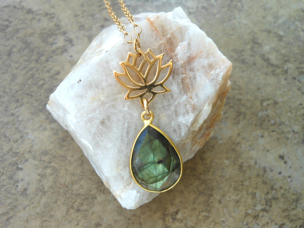 Gold Lotus Flower Necklace with Labradorite Gemstone