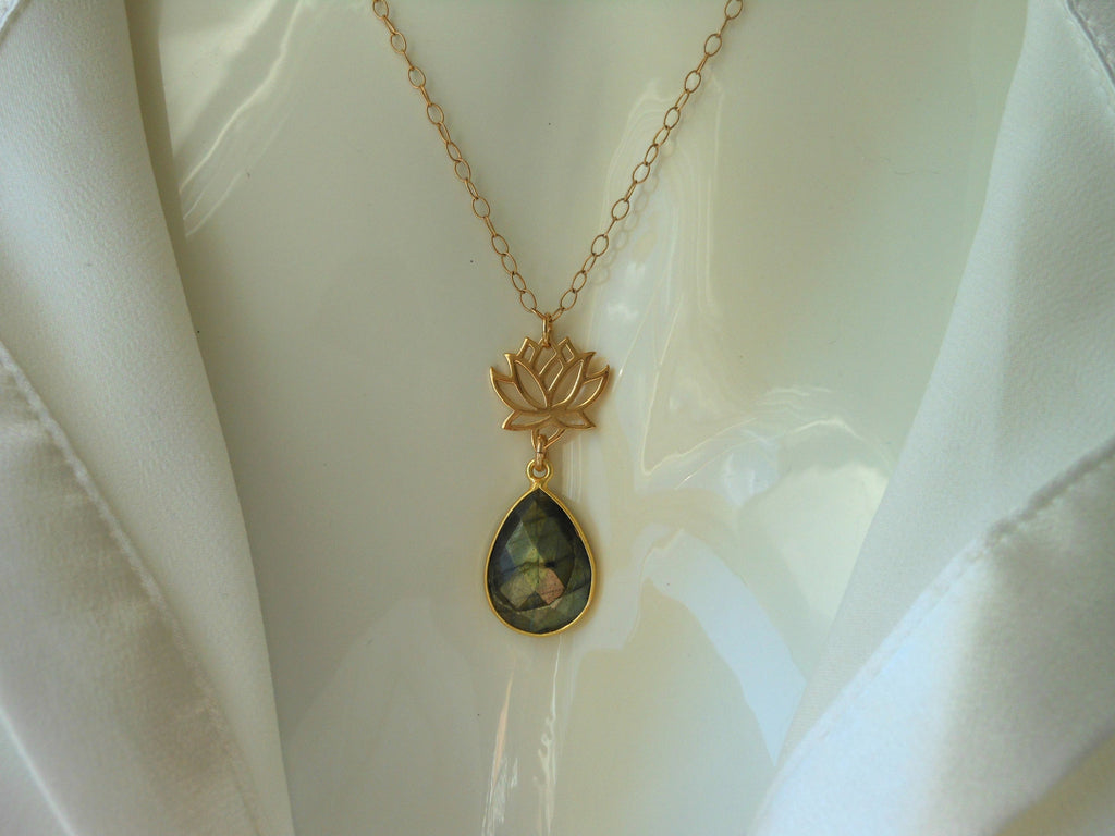 Gold Lotus Flower Necklace With Labradorite Gemstone Fabulous