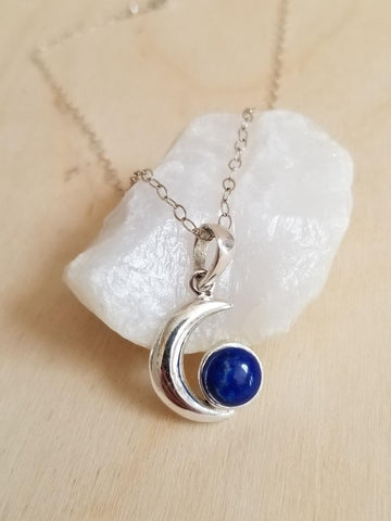 Blue Moon Necklace, Lapis Lazuli Pendant Necklace