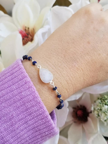 everyday bracelet, gift for Mom, blue lapis bracelet, Moonstone bracelet