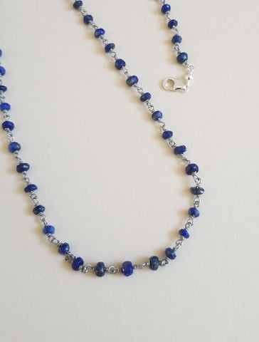 beaded chain, gemstone necklace, lapis necklace, bohemian jewelry