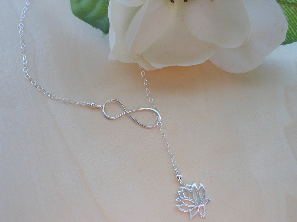 Sterling silver lotus flower lariat infinity y necklace fabulous lotus lariat silver infinity y necklace lotus flower jewelry izmirmasajfo