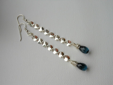 statement earrings, something blue, long sterling silver earrings