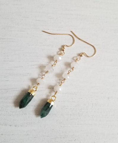 Long Emerald and Moonstone Boho Earrings