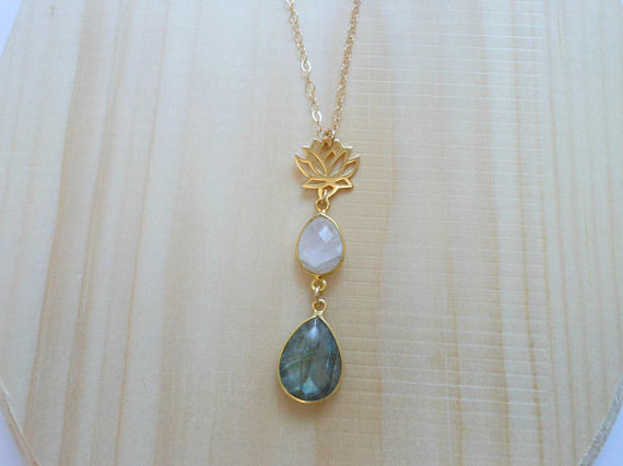 Gold lotus flower necklace with moonstone and labradorite fabulous home products gold lotus flower necklace with moonstone and labradorite aloadofball Gallery