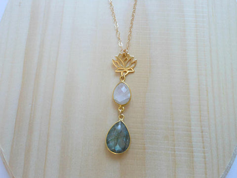 Gold Lotus Flower Necklace with Moonstone and Labradorite