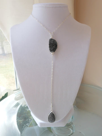 Dramatic Long Center Drop Black Druzy Necklace, Long Y Necklace