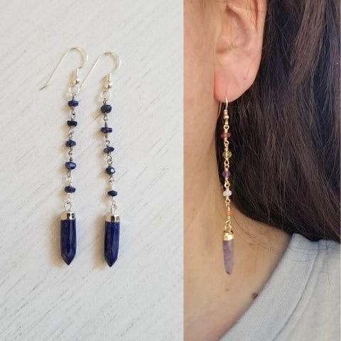 Long Lapis Lazuli Earrings, Beaded Gemstone Earrings