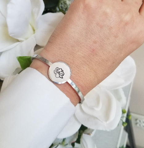 Silver Skinny Bangle Bracelet with Magnolia Flower