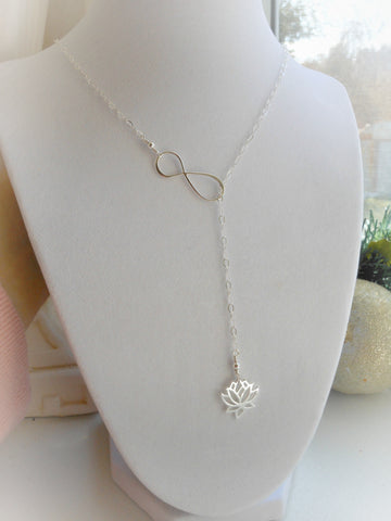 Sterling Silver Lotus Flower Lariat, Infinity Y Necklace