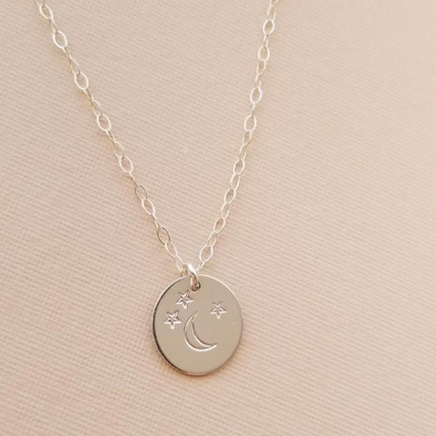 Moon and Stars Disc Necklace, Personalized Charm Necklace