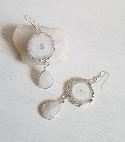 Bohemian Bride Statement Earrings, Solar Quartz and Moonstone