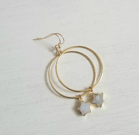 Gold Gemstone Hoop Earrings for Women Handmade in the USA