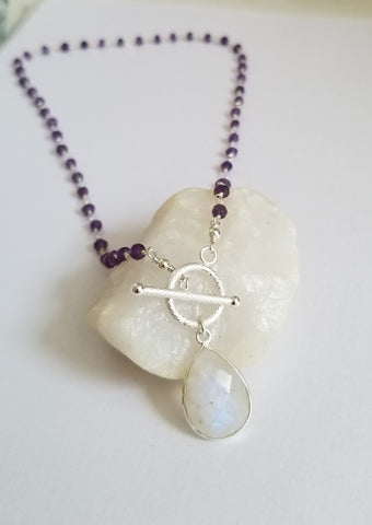 Amethyst Beaded Necklace with Moonstone Teardrop Pendant