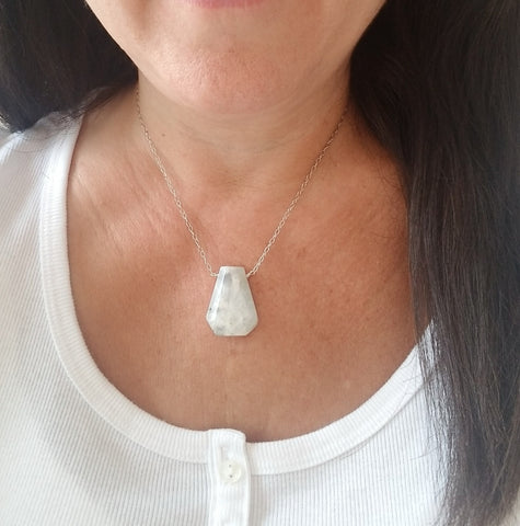 Sterling Silver Moonstone Necklace, Gift for Her