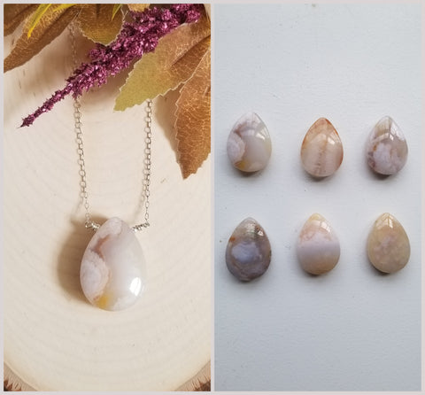 One of a Kind Agate Teardrop Pendant Necklace
