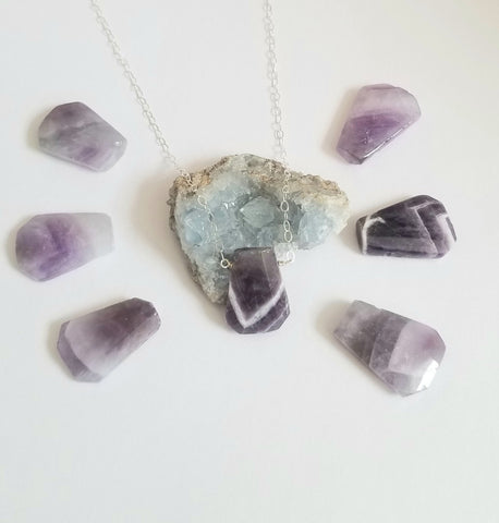 One of a Kind Chevron Amethyst Pendant Necklace