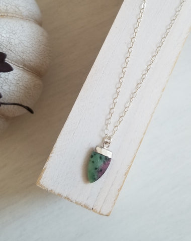 One of a Kind Ruby Zoisite Pendant Necklace