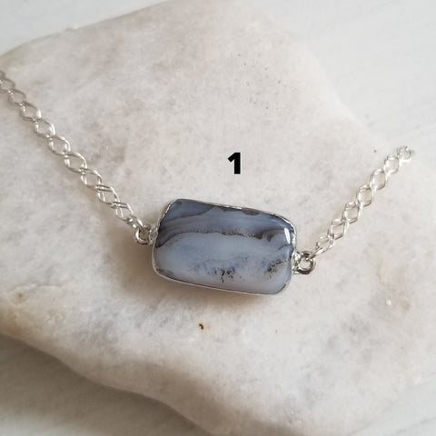 One of a kind Moss Agate Bracelet in Sterling Silver