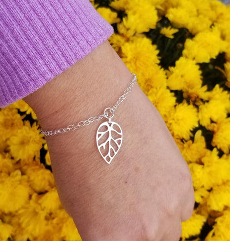 Sterling Silver Leaf Charm Bracelet, Gift for Her