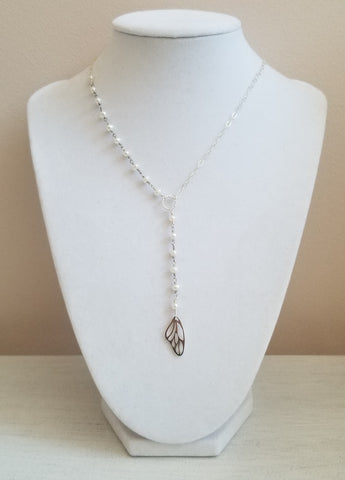 Sterling Silver Center Drop Necklace with Butterfly Wing