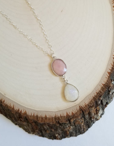 Pink Opal and Rainbow Moonstone Teardrop Pendant Necklace