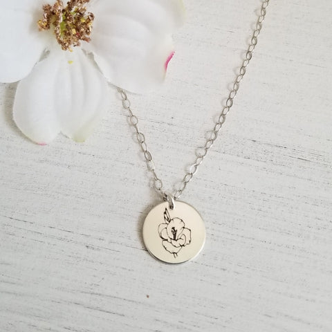 Dainty Flower Charm Necklace, Engraved Gladiolus Flower, Gift for Her