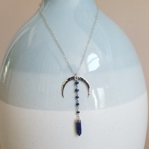 Sterling Silver Lapis Lazuli Moon Necklace, Boho Necklace
