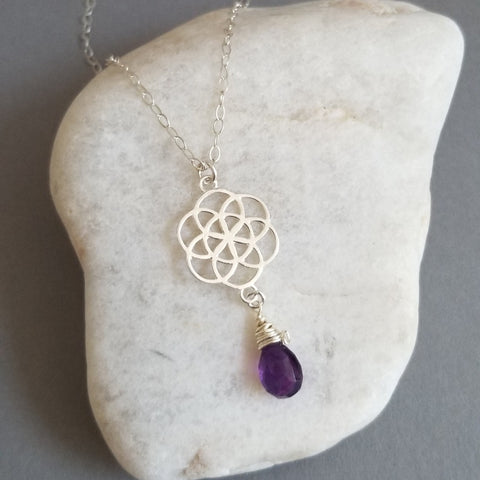 Amethyst Seed of Life Pendant Necklace, Sterling Silver