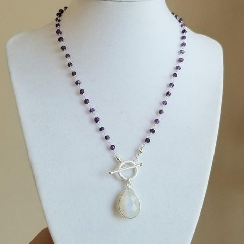 Amethyst Beaded Chain Necklace, Rosary Chain, Moonstone Necklace