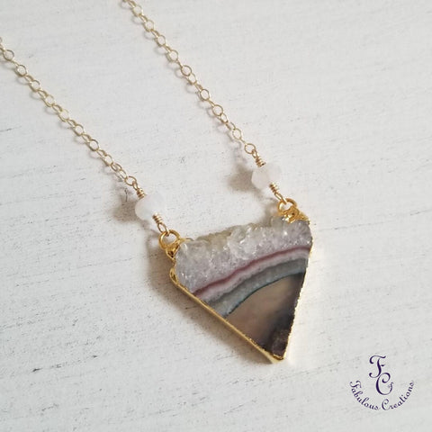 Raw Amethyst Crystal Triangle Pendant Necklace