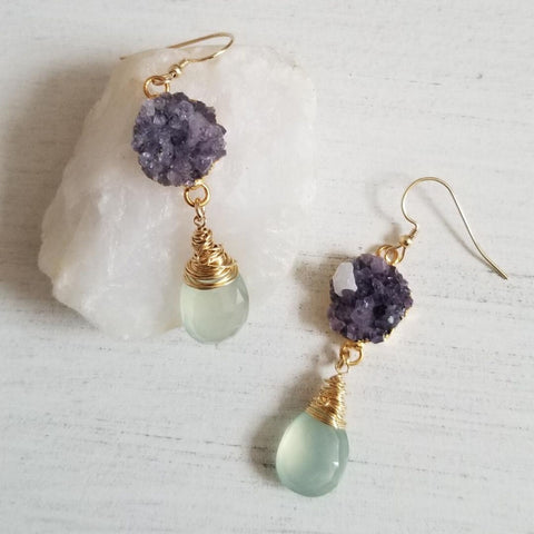 Raw Amethyst Crystals and Aqua Chalcedony Statement Earrings