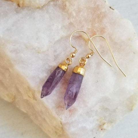 Amethyst Crystal Spike Earrings, Dainty Gold Earrings
