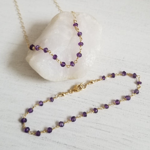 Amethyst Rosary Chain Jewelry, Dainty Beaded Jewelry for women