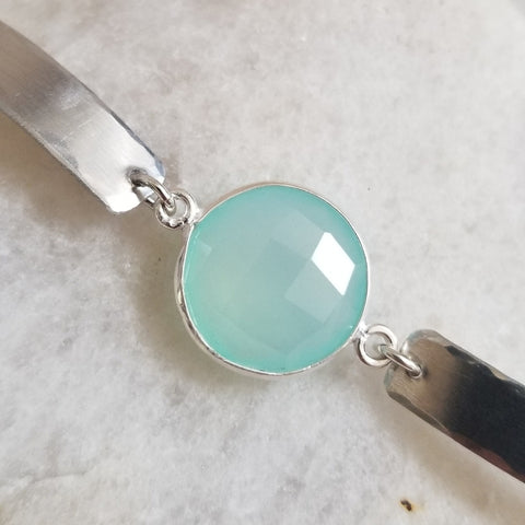 Protection Stone Aqua Chalcedony, Removes negative energy, Stone Bracelet