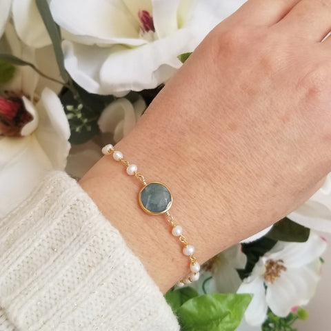 Aquamarine and Freshwater Pearls Bracelet