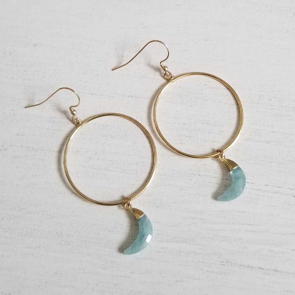 Aquamarine Moon Hoop Earrings, Gold Hoops