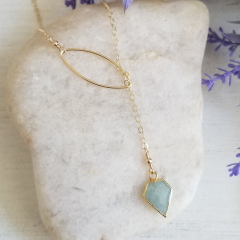 Aquamarine Lariat Necklace, Gold Gemstone Y Necklace