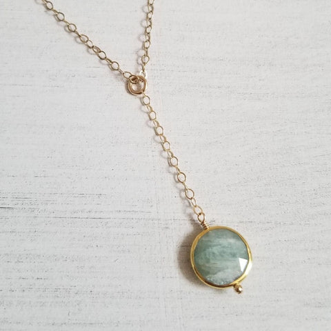 bridesmaid gift idea, dainty gold Y necklace, Aquamarine necklace, March birthstone