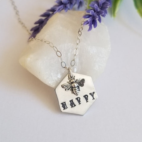 Bee Happy Necklace, Bee Charm Necklace, Stamped Jewelry for Women
