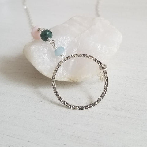 Custom Birthstone Necklace, Family Circle Necklace