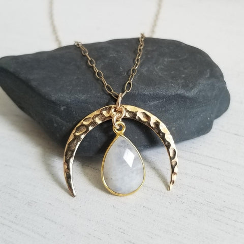 Gold Moonstone Pendant Necklace, Boho Moon Necklace