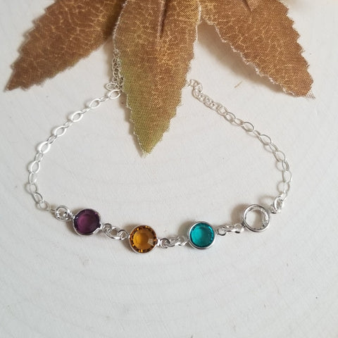 Custom Crystal Birthstone Bracelet, Gift for Her