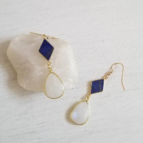 Blue Lapis Lazuli and Moonstone Statement Earrings
